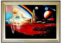 Framed Abstract Moon, Stars and Lake, Quality Hand Painted Oil Painting 24x36in