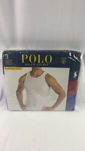 Polo Ralph Lauren Classic Fit 3-Cotton Ribbed Tanks Large 42-44 Blues/Red