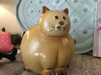Vintage Cat Bank Wiskers Cat Lovers Gift Gold/tan/brown Large Bank Kitty Fat Cat