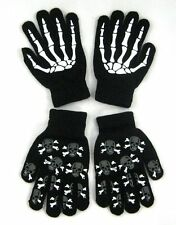 TWO PAIRS Glow In Dark Skull Magic Stretchy Cotton Gloves One Size Fits Most