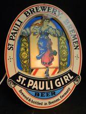 "Vintage Oval St. Pauli Girl Brewery, Bremen Beer Bar Light 15.25"" x 11.25"" Good"