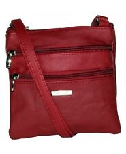 Ladies Womens Red Lorenz Genuine Real Leather Small Fashion Shoulder Handbag