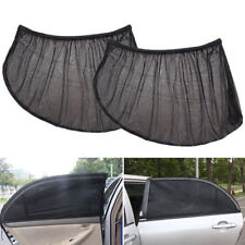 2Pcs Car Window Side Sun Shade Cover Block Static Cling Visor Shield Black