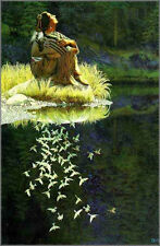 "Bev Doolittle ""LET MY SPIRIT SOAR"" WSS Print-Camoflauge-Indian Maiden-Doves-Art"