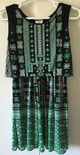 New ECI Women's Sleeveless Black/Green Print Stretch Blouson Dress Size Medium M