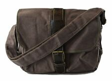 Mens Cotton Canvas Casual Medium Size Daily Messenger Shoulder Bag(B3061)-Brown