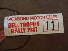 COMPETITORS ROAD RALLY PLATE BONNET NUMBER 1981 VAGABOND MC BELL TROPHY RALLY
