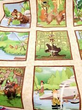 New listing Comic Hunting Cotton Fabric Panel Wilmington Dog Bolt End 23 by 44