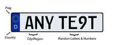 EUROPEAN STYLE Vanity license plate Tag ANY TEXT or Number, CUSTOMIZABLE, GERMAN