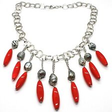 SILVER 925 NECKLACE, CORAL, PEARLS GREY PAINTED, CASCADE, HANGING