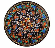 black coffee Marble mosaic inlay table top dining center 4'x4' round table