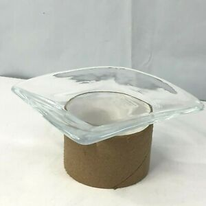 Crate and Barrel Piazza Artisanal 5in Glass Appetizer Plate Italy Ashtray Boho