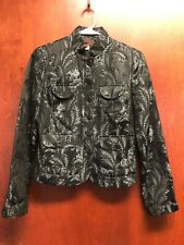 Tapemeasure Size 6 Jacket Black White Tapestry Nehru Collar Floral Lined