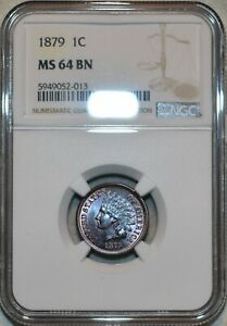 NGC MS-64 BN 1879 Indian Head Cent, Attractively toned specimen.