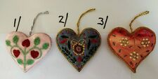Hand Embroidered & Decorated Christmas Heart Shaped Design Hangings - £5.75p