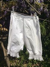 Antique French Wearable Cotton Bloomers Underwear Hand Embroidered Lace Culottes
