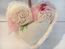 Vintage Fabric Shabby Chic Hanging Heart Wedding Nursery Door Hanger X 1