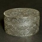 Vintage Islamic / Arabic 800 Solid Silver Floral Plants Engraved Boxe