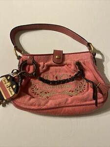 Juicy Couture Pink Cotton Handbag With Attached Heart, Magnetic Closure