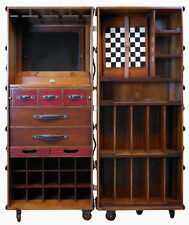 "Stateroom Bar Black Steamer Travel Trunk 58"" Home Pub Nautical Storage Furniture"