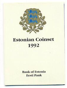 Estonia First Estonian 1992 Official Mint Coinset in Original Cover