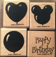 """Stampin' Up! """"Birthday Balloons"""" Set Of 4 Stamps (2001)"""