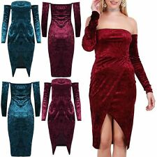 Women Ladies Front Wrap Cold Shoulder Boobtube Crushed Velvet Bodycon Midi Dress