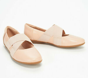 Clarks Collection Leather Cross- Strap Flats - Gracelin Shea Nude 5 M