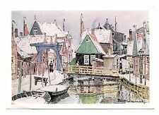 Bridges to Volendam Netherlands Postcard Art Reproduction H. E. Roodenburg