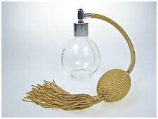 GOLD ROUND BOTTLE TASSEL PERFUME ATOMIZER WITH SILVER FITTING 78ml