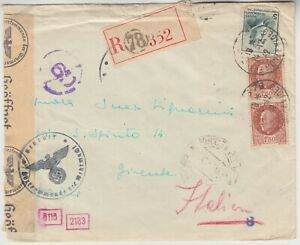 FRANCE 1942 DOUBLE censor registered cover *PARIS-ITALY*