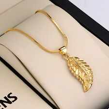 """New Feather Pendant 18K Yellow Gold Filled Charms Necklace 18"""" Chain Jewelry"""