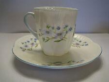 Shelley England Fine Bone China Mini Dainty Tea Cup and Saucer Set Blue Rock