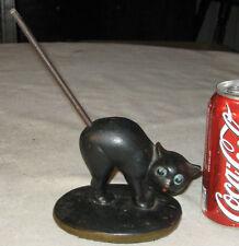 Antique Solid Cast Iron Cat Art Statue Pencil Holder Desk Paperweight Doorstop