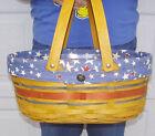 Longaberger OVAL MARKET Basket RED WHITE BLUE Patriotic American Celebration NEW