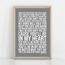 More details for phil collins you'll be in my heart tarzan disney song lyrics poster print art