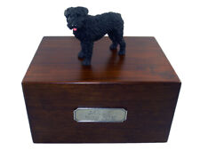 Beautiful Paulownia Wooden Personalized Urn With Bouvier Des Flandres Figurine
