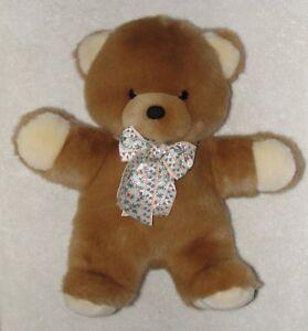 "Applause Fluffy Brown Plush Teddy Bear Flower Print Bow Cream Paws 12"" Soft Toy"