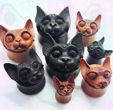 Carved Wood Big Gauge Ear Plug Saddle Organic Black Natural Cat Sphynx 50mm