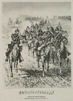 Batterie zum Galopp übergehend, Artillerie, Pferde, Reiter, um 1887, Holzstich