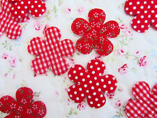 60 Red Cotton Fabric Flower Applique/Gingham Check/Polka Dot/Floral/Hoilday H575