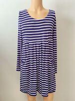 Joules Ladies Womens Tunic Dress Blue White Stripe Size 14 Pockets Autumn Winter