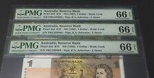 1983 Australia, Reserve Bank QE II $1 P-42d R78 Consecutive PMG 66 EPQ