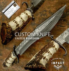IMPACT CUTLERY RARE CUSTOM DAMASCUS ART LARGE BOWIE KNIFE CROWN ANTLER