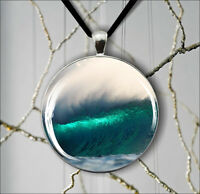 SEA GREAT WAVE OCEAN STORM PENDANT NECKLACE -yed5Z