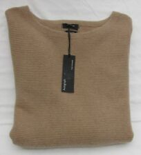 LADIES MARKS AND SPENCER AUTOGRAPH RIBBED DARK CAMEL PURE CASHMERE JUMPER SIZE L