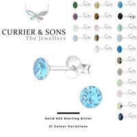 LA CRYSTALE 925 Sterling Silver Round Stud Earrings + SWAROVSKI® Elements 4mm D3