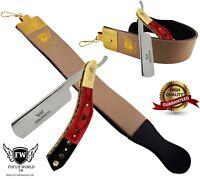 VINTAGE BARBER SALON STRAIGHT CUT THROAT SHAVING RAZOR , Leather strop Belt