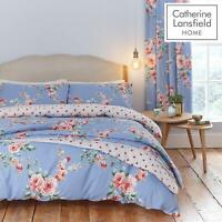 Catherine Lansfield Canterbury Blue Duvet Cover Bedding Set Curtains Bedspread