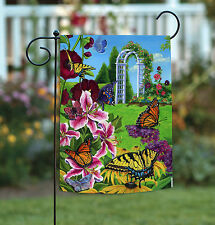 Toland Butterflies in the Garden 12.5 x 18 Colorful Flower Garden Flag